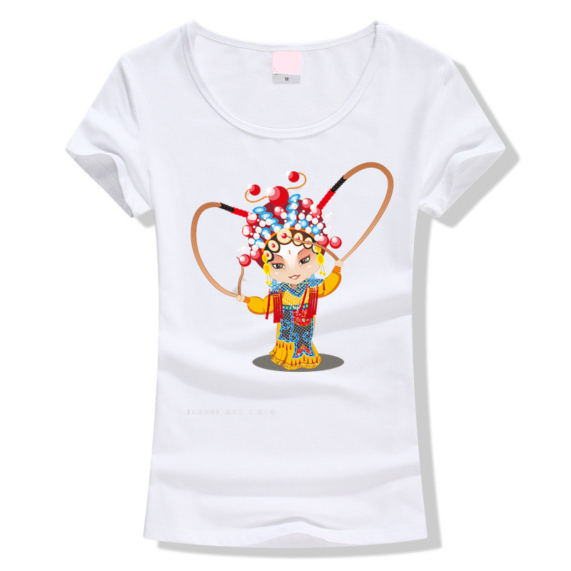 Print Beijing opera Women T-shirt breathable comfortable T shirt Tops Short Sleeve O-neck Casual Tops Fashion China(China (Mainland))