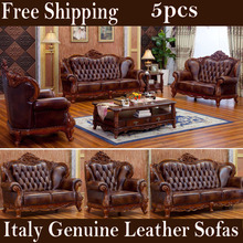 Free shipping 5pcs Villa Genuine leather sofas living room sofas set solid rubber wood carve genuine leather Vintage furniture(China (Mainland))