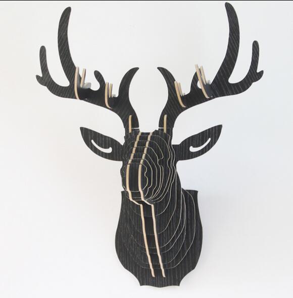 3D BUCKY wood Deer head for home decor(China (Mainland))