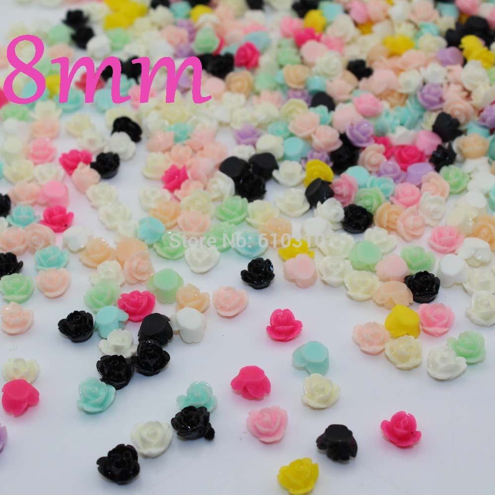 Free Shipping 8mm multicolor Resin rose flower Cabochons Cameo diy nail decoration card decor 200pcs(China (Mainland))