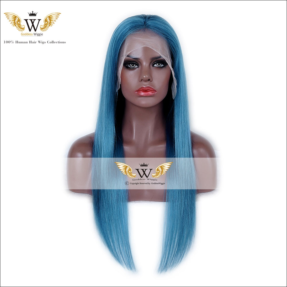 7A 130 Density Brazilian Straight Virgin Hair Light Sky Blue Full Lace Wig With Baby Hair Human Hair Lace Front Straight Wig(China (Mainland))