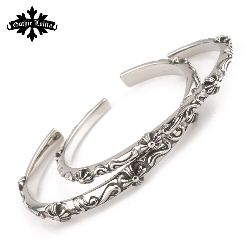 Cuff Fashion vintage cross flower Bangles bracelets for lovers men and women stainless steel bracelet open bangles(China (Mainland))