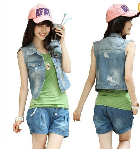 New Womens Fashion Sleeveless Denim Waistcoat Jeans Vest