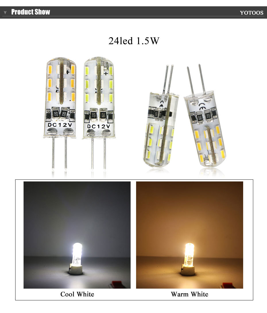 YOTOOS G4 LED Lamp 12V Corn Light 1.5W 2W 3W 4W Bulb 3014 360 Beam angle g4 Led Lamp Replace Chandelier Crystal  halogen Light
