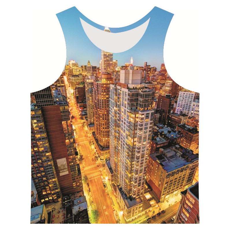 Quality Top Mens 3D famous scenery style travel essential sport Fitness O-neck Gym tank topsОдежда и ак�е��уары<br><br><br>Aliexpress