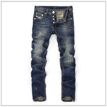 Balplein famosa Marca Designer de Moda Homens Jeans Reta Azul Escuro Cor Impressa Mens Jeans Rasgado calças de Brim, 100% Algodão(China)