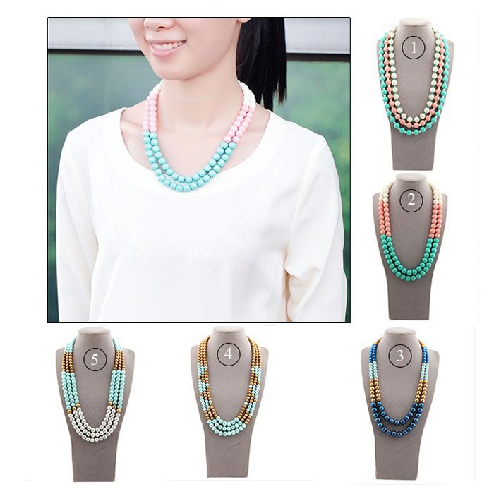 2015 new style hot selling aliexpress multi layer acrylic necklace jewelry multi color fashion chorker bead necklace for women(China (Mainland))
