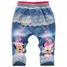 New hot sale summer children clothing 2-3-4-5 year girls pants cartoon lace kids three quarter jeans trousers girl jeans