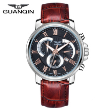 Watches Men Luxury Brand GUANQIN Waterproof Sport Quartz Watch Men Leather Fashion Casual Wristwatch relogio masculino relojes