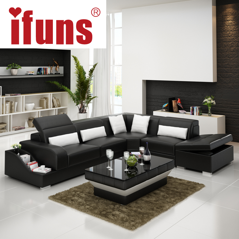 IFUNS recliner leather corner sofa set,european style l shape modern leather sectional sofa set home furniture living room(China (Mainland))