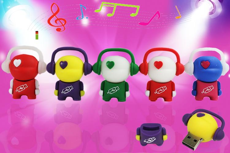 usb flash drive real capacity earphone little man lanyard key ring Usb pendrive promotion Memory 32GB - 4GBpen driveUSBS247(China (Mainland))