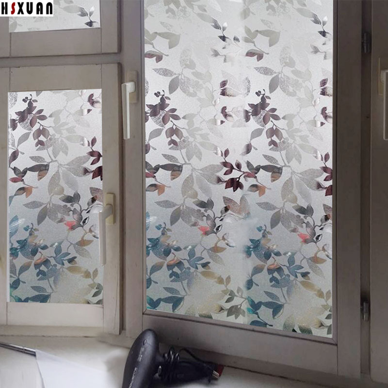 50x100cm Hsxuan brand transparent Static cling window film frosted flower 3D printing pvc sliding doors glass stickers 500820(China (Mainland))