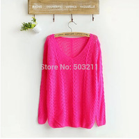 2015 fashion brand candy color long sleeve Hollow crochet knitted women lady  wildfox sweater pullovers girls o-neck tricotado