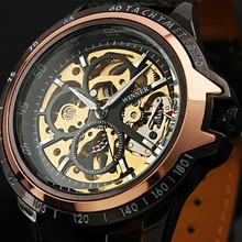 Ganador reloj mecánico automático mens ocasional del reloj de encanto comercial correa del recorte jwh041