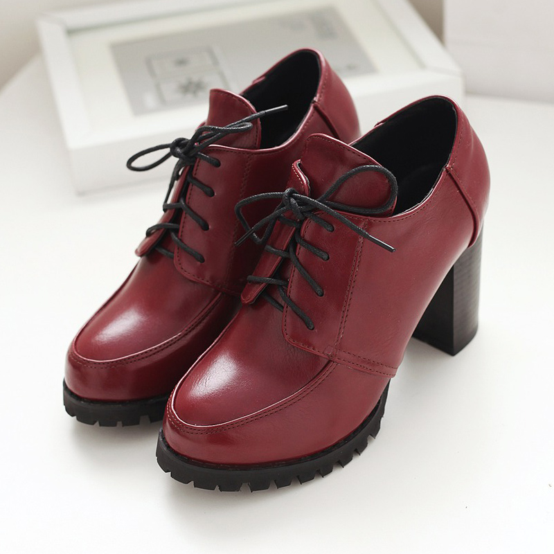 British college style comfortable round toe ankle boots fashion lace-up white red blue black high-heeled womens riding boots<br>