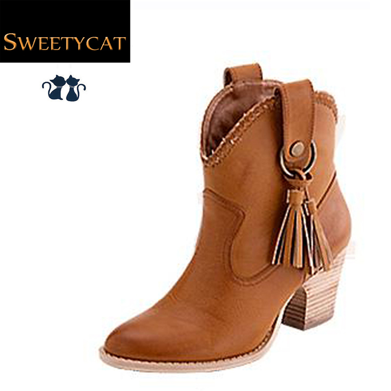 2015 new ankle boots fashion sexy tassel women boots leather autumn boots cowboy boots winter boots for shoes woman