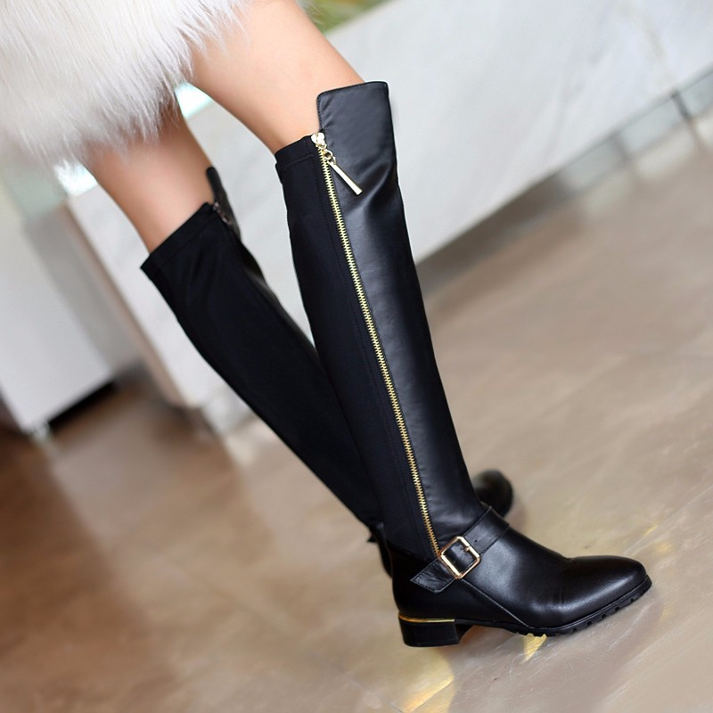 Woman Belt Buckle Knee-high Boots Winter Short Plush Genuine Leather Thick With Long Boots Plus Size Belt Buckle Knee-high Boots