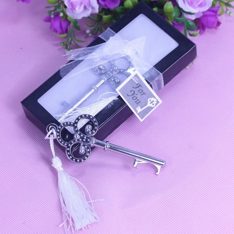 Home Party Practical Favor Gift Creative Crown Key Opener With White Tassel Baby Shower Christening Wedding Favour Bomboniere(China (Mainland))