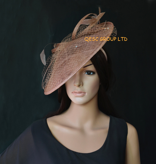 Brown coffee big Sinamay fascinator hat.(China (Mainland))