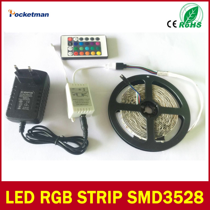 90% off 3528 RGB LED Strip 300Leds/5M SMD + 24Key IR Remote Controller + 12V 2A Power Adapter Flexible LED Light Free Shipping(China (Mainland))
