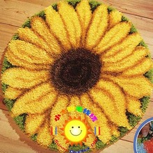 diy mat needlework crocheting rug diy unfinished crocheting yarn matlatch hook rug Latch Hook Rug Kit Floor Mat sunflower(China (Mainland))