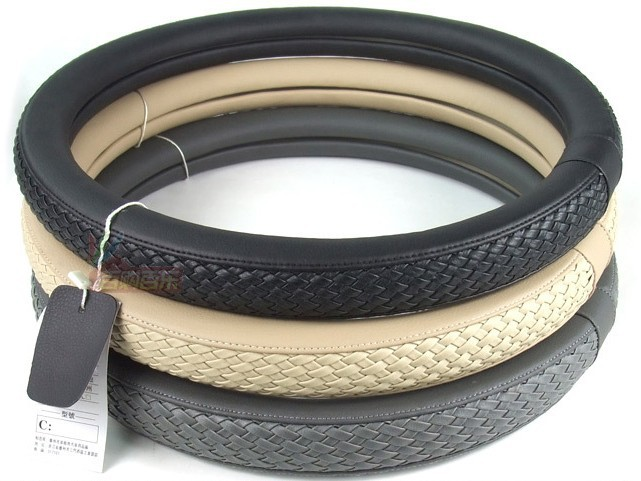high-grade Microfiber leather woven car steering wheel cover leather weave the set of leather car set(China (Mainland))