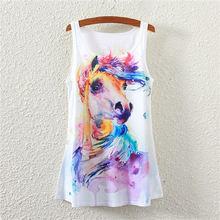 New 2016 Fashion Summer  Women T-shirt casual Tops Watercolor horse Prints T-shirt Loose women T shirt Women's Clothing(China (Mainland))