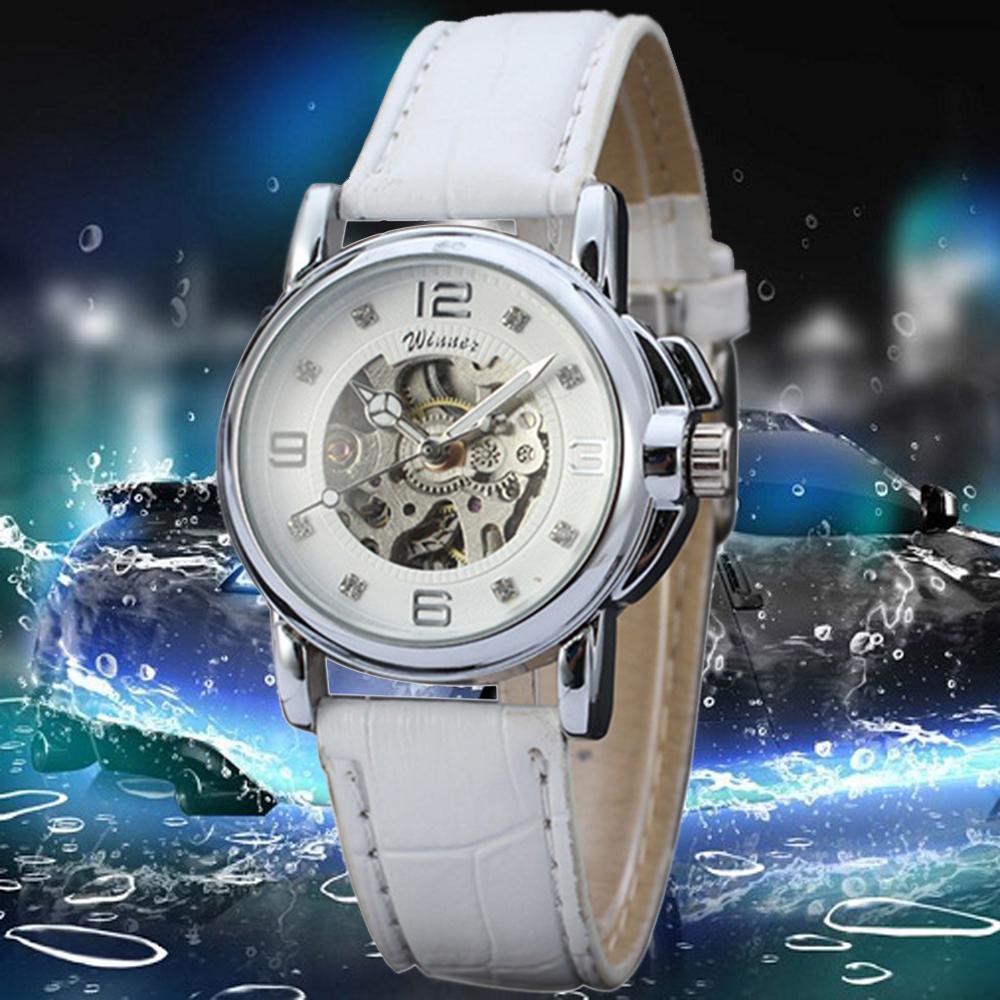 Winner relojes mujer 2016 Lady Diamond dial White Leather Mechanical Skeleton Watch Women Automatic Wrist Watch relogio feminino<br><br>Aliexpress