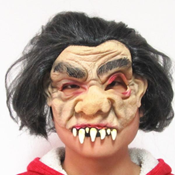 Red Eyes Sharp Buckteeth Black Hair Party Masquerade Mask Half Face Mask Good MJ029(China (Mainland))