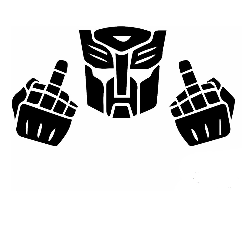 Transformers Animated Cartoon Film Autobot Middle Finger Car Sticker for Truck Motorcycles Canoe Car Covers Vinyl Decal 9 Colors(China (Mainland))