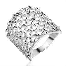 Free Shipping 2015 silver plated wedding rings Fishnet anillos Wholesale(China (Mainland))