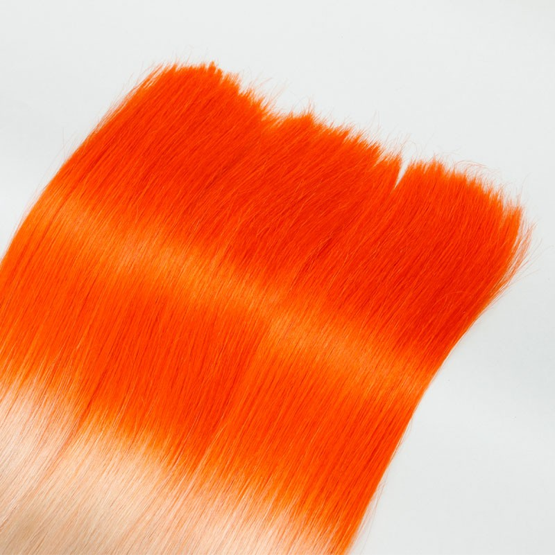 Sleek 10A Brazilian Virgin Hair Maiden Bulk Hair Ombre Hair Extension 3pc/Lot T1001/ORANGE Thick&Soft Silky Straight Hair