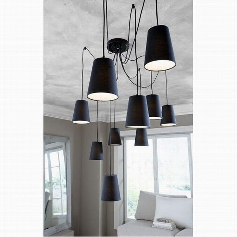 Modern big hanging led chandelier dining room/Diy Clusters of white/black fabric shades chandeliers 220v bedroom ceiling lamps(China (Mainland))