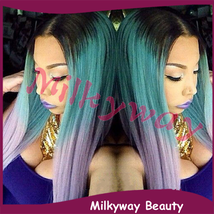 Milkyway new fasion silky straight black to green to purple ombre heat resistant synthetic lace front wig(China (Mainland))