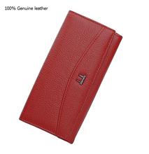 Fashion Women Purse 100 Genuine Leather Purse Wallet for Women Ladies Brand Designer Long Wallet Zipper