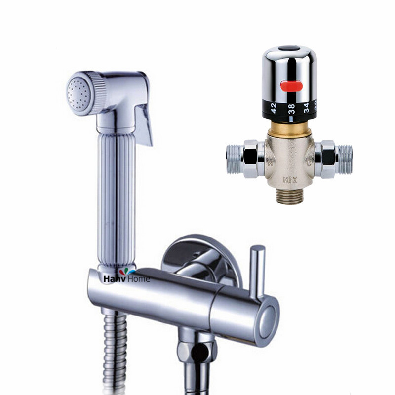Bathroom Thermostatic Mixer Valve Bidet Spray Water Mixing: Thermostatic Bidet Faucets Mixers Taps + Brass Hand Held