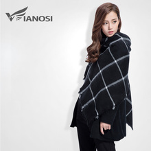 [VIANOSI] High Quality Black Cape Classic Scarf Knitted Plaid Foulard Famous Brand Shawl Fashion Cashmere Scarves VS058(China (Mainland))