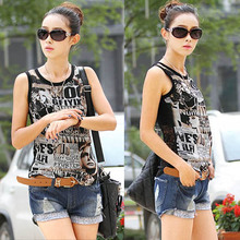 2015 Plus Size fashion Summer Cutout Lace And Chiffon T-shirt Basic Small Slim Vest Shirt Large Size Women's Tops