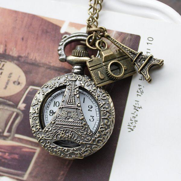 Explosion models small souvenir travel together to Paris France Tower retro fashion quartz pocket watch XH133