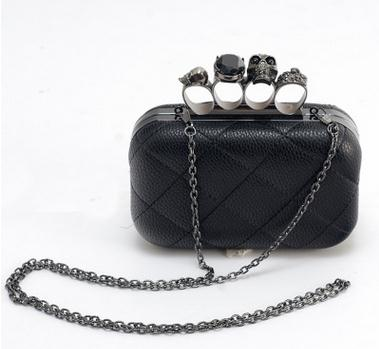 2016 Vintage black skull chain clutch bags dollar price evening bag woman party clutches purses Knuckle box clutch(China (Mainland))