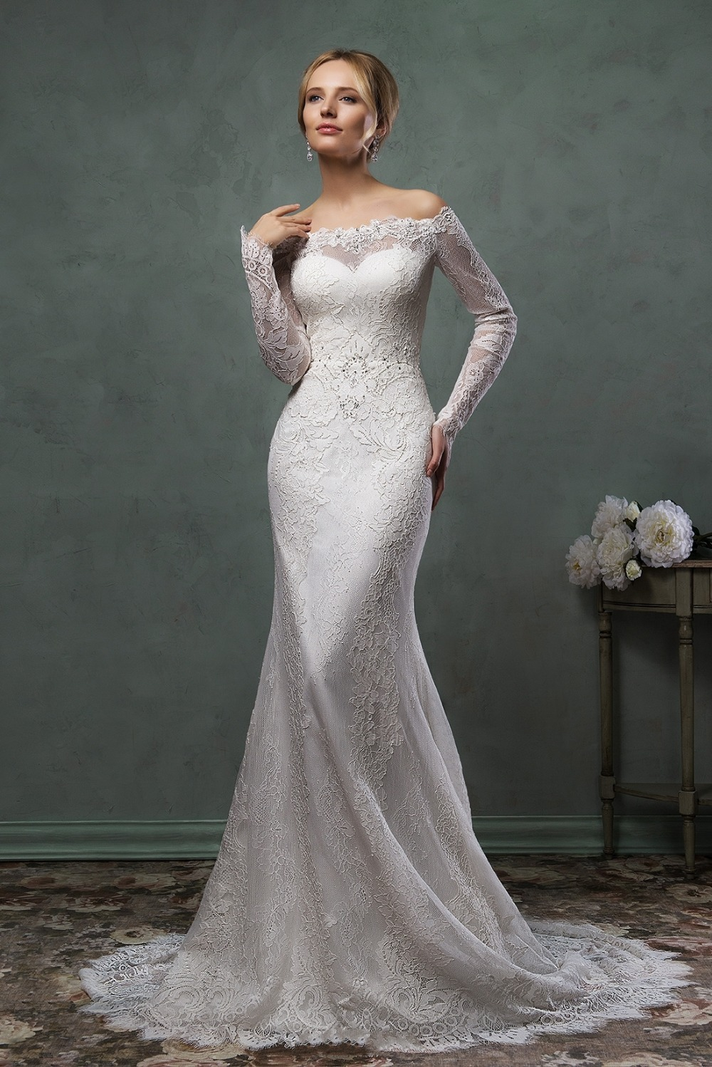 Mermaid long sleeve boat neck wedding lace dresses 2015 for Long sleeve lace wedding dresses