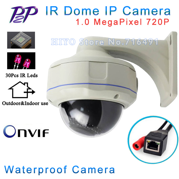 ONVIF 1280*720P HD 1.0MP Mini Dome IP Camera Outdoor/Indoor Waterproof Metal Case IR Night Vision P2P Plug Play(China (Mainland))