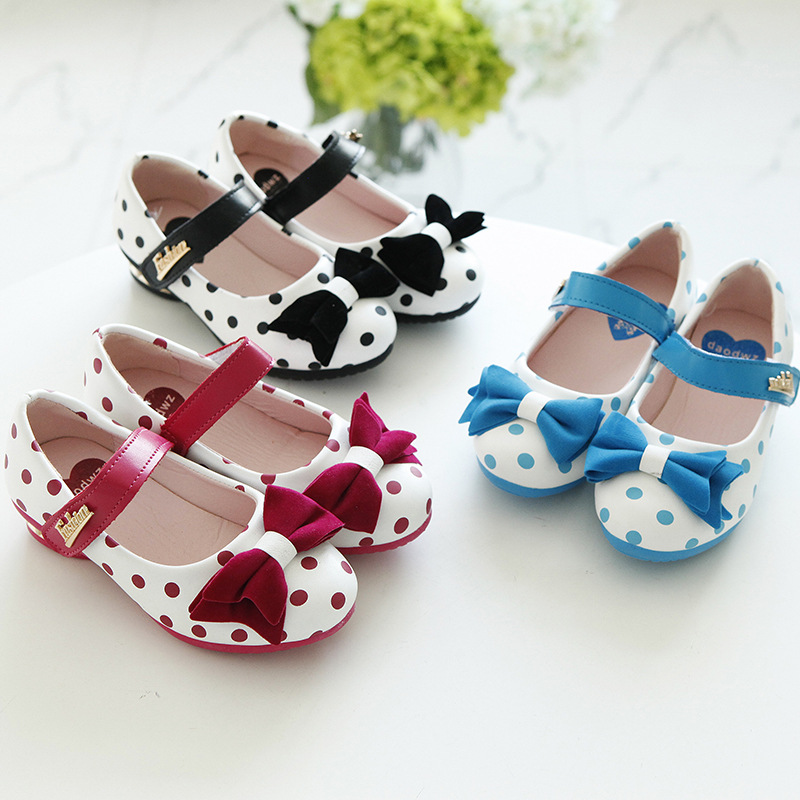 Autumn 2015 new children's princess shoes bows girls shoes medium and small leather shoes size 27-37(Chin