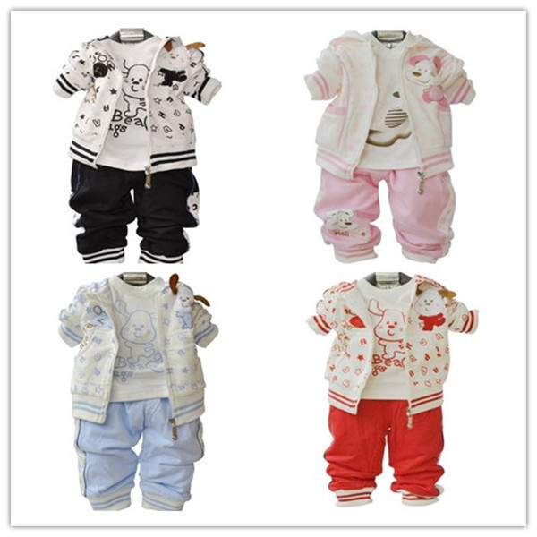 Retail, 3pcs  (Jacket+shirt+Pant) Boys Girls Dog Style Suit, Boys Autumn Winter Clothes Set,  IN STOCK