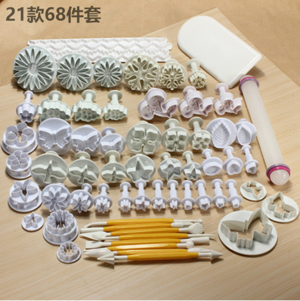 Buy Baking kit 68 Pcs/set DIY cake decoration fondant mould embossing plunger cookie cutter Icing flower mold tool with knife cheap