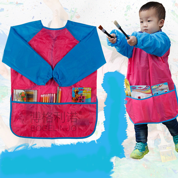 Draw Apron 2~5 years Old Children Sleeved Sanitary Aprons Pink Waterproof Kids Painting Apron(China (Mainland))