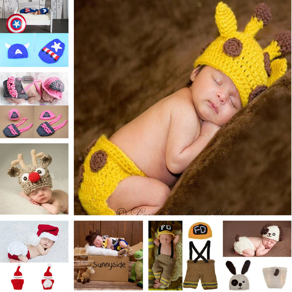 Baby Crochet Deer Set Infant Kids Crochet Photography Props Infant Baby Animal Costume Outfits Hat+Diaper Sets 1set MZS-067(China (Mainland))