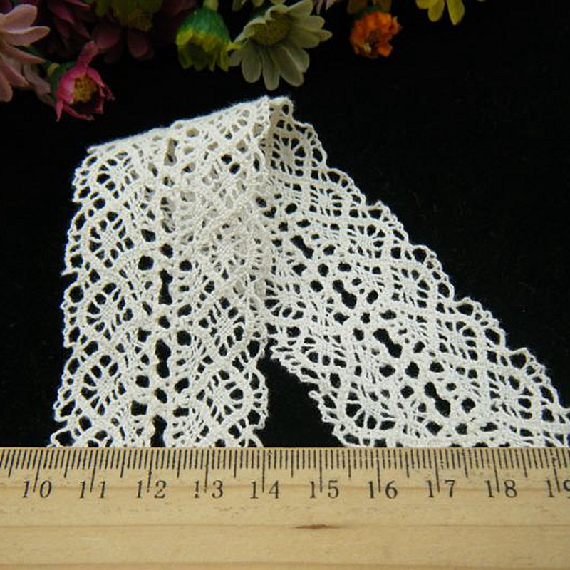 Garment accessories cotton lace curtain skirt packing bows headdress flower diy decoration material 50 yards a pack (M97)(China (Mainland))