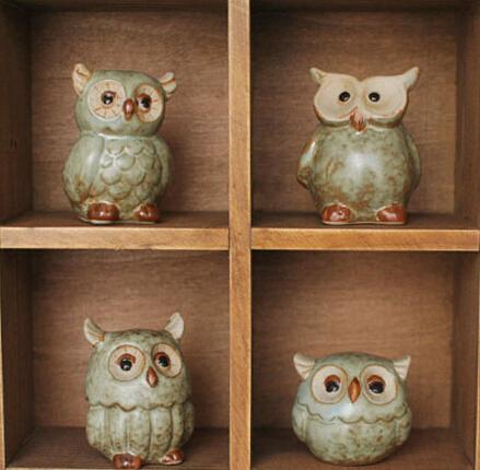 Zakka Home Decor Ceramic Artificial Owl Home Decoration