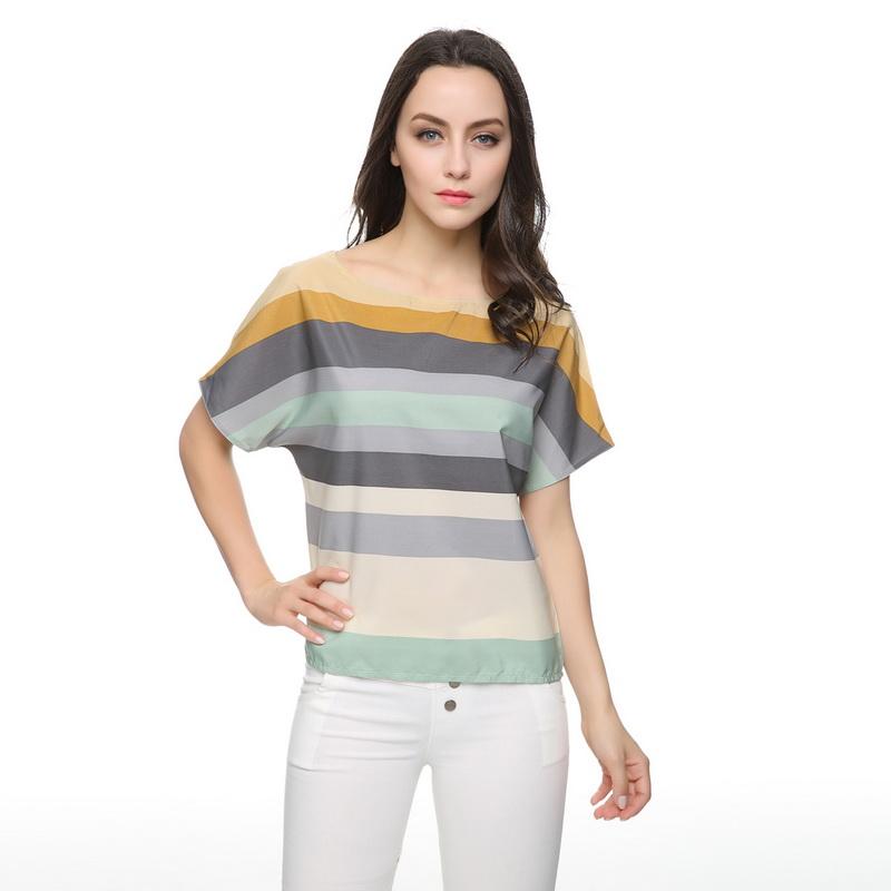 Women plus size striped summer blouses camisas femininas Europen short batwing sleeve shirts casual loose tops(China (Mainland))